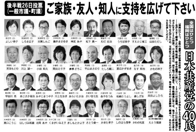 一般市・町議会議員予定候補(福岡県・日本共産党)