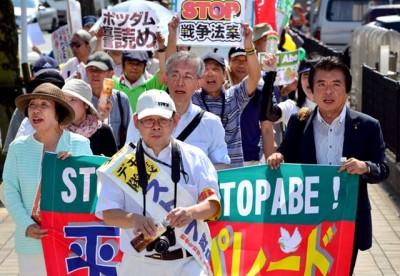 久留米市で「戦争法案に反対する緊急集会」仁比参院議員