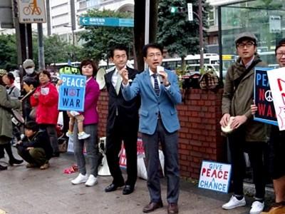田村議員は「野党共闘を実現し戦争法廃止の内閣をつくるため全力を尽くす」と決意を表明